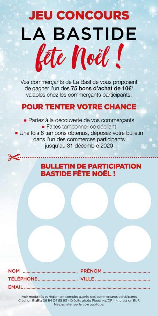 Bulletin de participation - Jeu concours La Bastide fête Noël 2020
