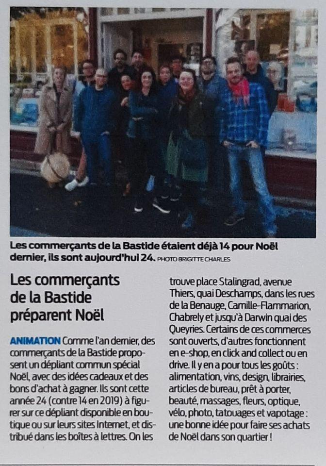 Les commerçants de La Bastide préparent Noël - Article Sud-Ouest du 11 novembre 2020